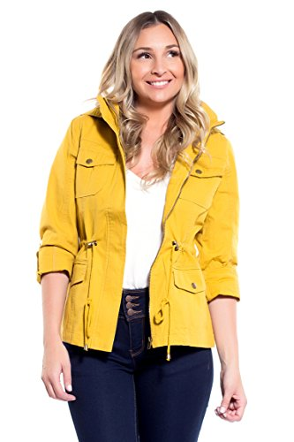 Instar Mode Women's Anorak Safari Hoodie Jacket up to Plus Size (JK07014 Mustard, Medium) (Jacket Fur Button Front)