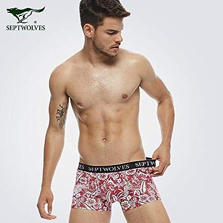 WXNLEAI Ropa interior masculina de Septwolves/siete lobos boxeadores masculinos de algodón puro ropa interior masculina juvenil, XL 175,97119-4 moda de ...
