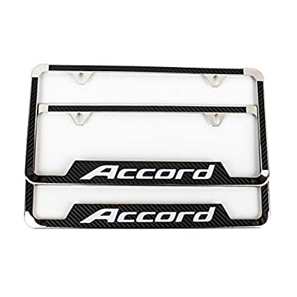 Lolosale Carbon Fiber Vinyl Decal Stainless Steel Metal Accord Sport License Plate Frame Cover Holder for Honda Accord 1