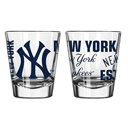 Official Fan Shop Authentic MLB Logo 2 oz Shot Glasses 2-Pack Bundle. Show Team Pride at Home, Your Bar or at The Tailgate. Gameday Shot Glasses for a Goodnight (New York Yankees - Spirit Shot)
