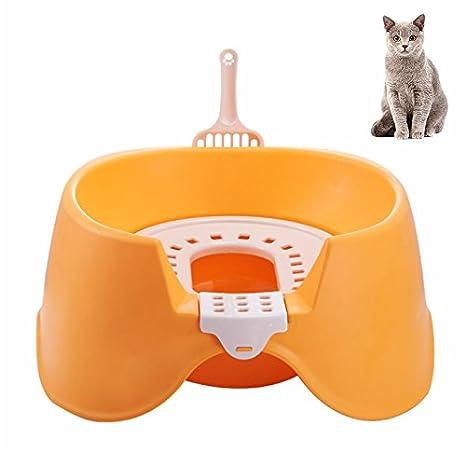 Petacc Caja de arena para gatos Sartén anti-bacteriana para mascotas Desmontable inodoro para gatos
