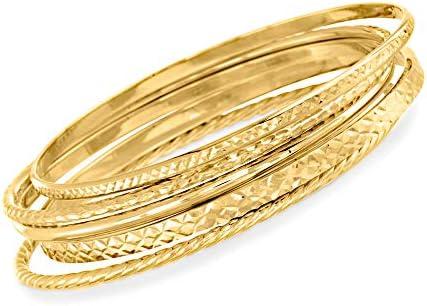 Ross-Simons 18kt Gold Over Sterling Jewelry Set: 5 Textured Bangle Bracelets