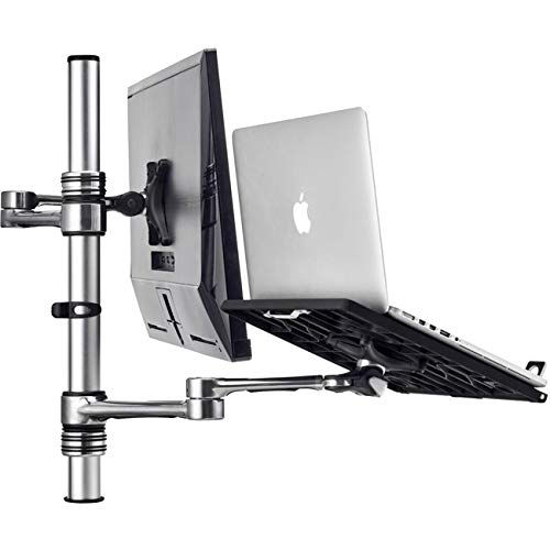 Image of ATDEC Laptop & Display Monitor Desk/Table Combo Mount, Dual Arms, VESA, Adjustable, Clamp or Bolt Through, Ergonomic, Silver Aluminum(Af-at-NBC-P) Monitor Arms & Stands