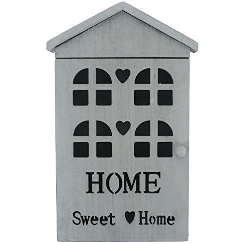 Promobo - Boite A Clés En Bois Vieilli Aspect Loft Vintage Inscription Home Sweet Home Gris