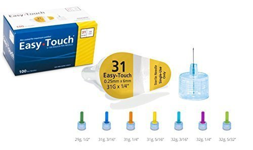 Easy Touch Pen Needles 31 Gauge, 1/4 Inches, box of 100