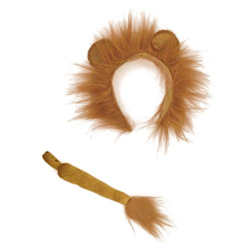 Lion Ears and Tail Set -Lion Cosplay Accessories-Lion Ears Headband and Tail-Animal Headbands Ears]()