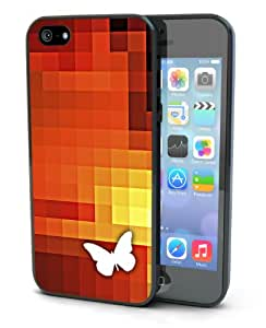 Orange Butterfly Black and White Pixel Art Black Plastic Cover Case for iPhone 5 or 5s