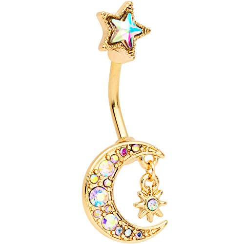 Body Candy Anodized Stainless Steel Aurora Accent Royal Moon and Star Double Mount Belly Button Ring (Button Mount Rings Belly Double)