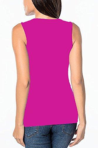 Las Mujeres Elegantes Fake 2 Piezas Camiseta Sin Mangas Blusas Tops Raja RoseRed