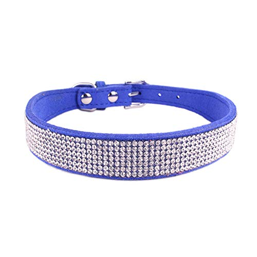 PEHTEN Microfiber Soft Dogs Collars with Glittering Rhinestones Beautiful Pet Collars for Small Medium Larges Dogs Pet Supplies XXS-XXL Navy Blue XS