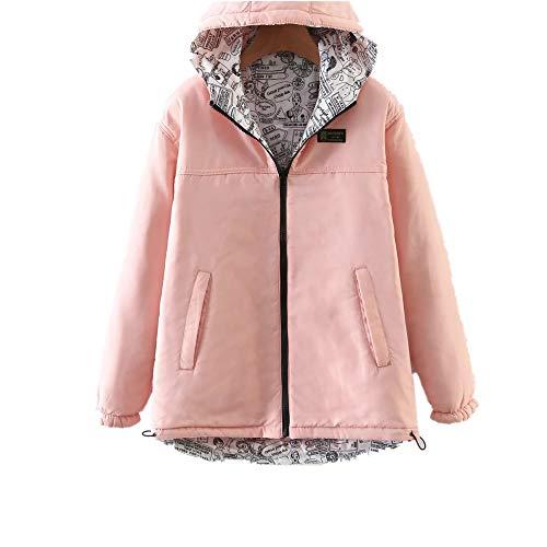 Capuche Parka coloré S Oudan Femmes Taille Outwear Warm Veste Rose À Vert qxwxf0vEX