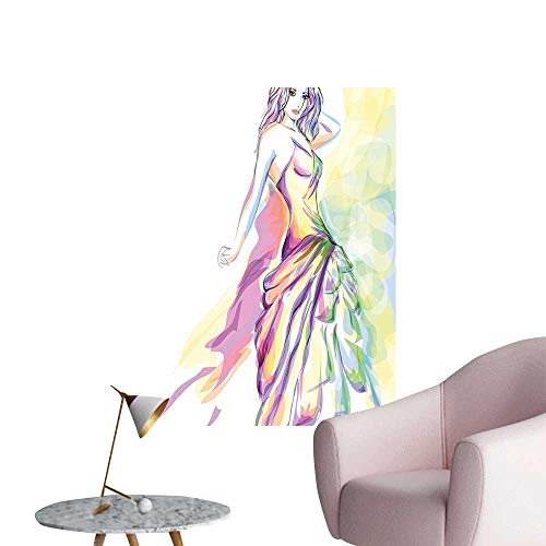 Modern Decor Young Girl Posing Her Night Dr Digital Watercolor Image Pink Yellow Ideal Kids Decor or Adults,20