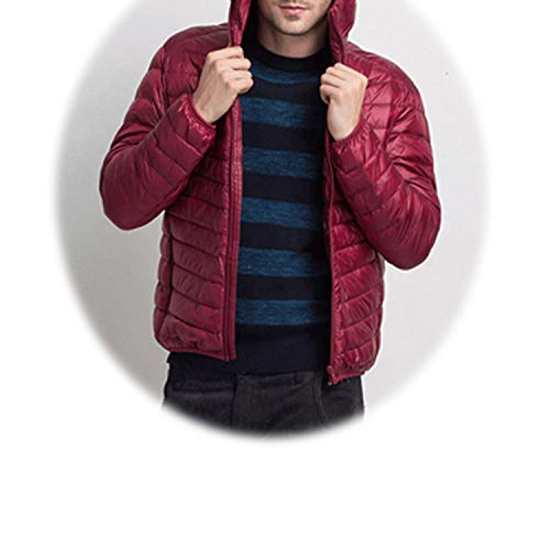 be-my-guest Men's Winter Parkas Fashion Ultralight Down Jackets Warm Slim Fit Solid Hooded Coats,Wine Red,XL