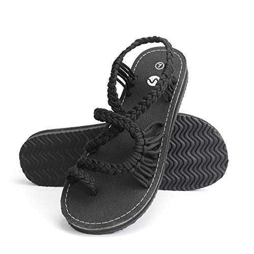 Rekayla Flat Sandals - Braided Rope Walking Sandals for Women, Black 09