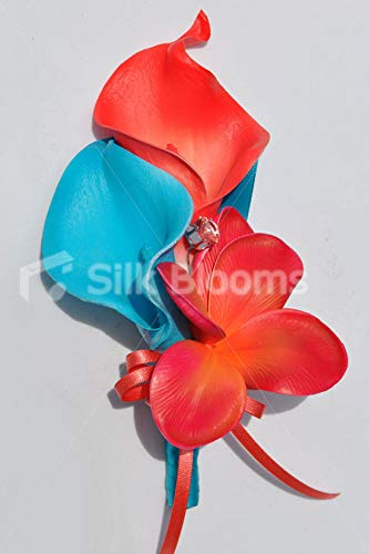 Silk-Blooms-Ltd-Artificial-Blue-and-Orange-Calla-Lily-Corsage-wFrangipani-and-Crystals