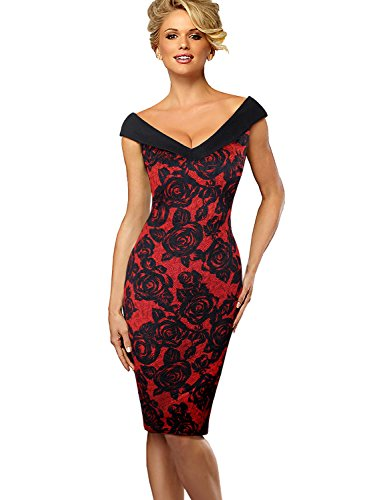 VFSHOW Sleeveless Party Dress Red Womens Black Print Floral Neck Cocktail V Pencil and rtr0w4q