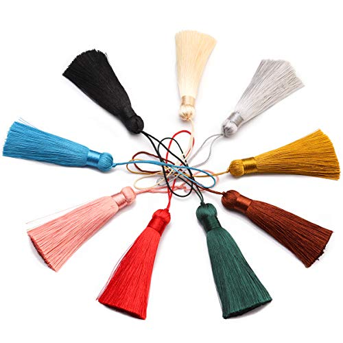 Forise 18pcs Tassels Mix 9 Style Fashion Soft Silky Elegant Tassels with 3-Inch Cord Loop Fit for DIY Jewelry ()
