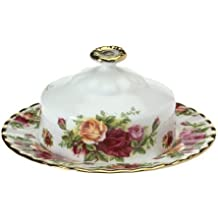 Royal Albert Old Country Roses Round Covered Butter Dish by Royal Doulton