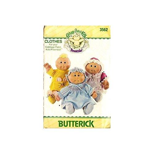 (Butterick 3562 Cabbage Patch Kids Preemies Clothes, Dress, Panties, Pinafore, Shoes, Bonnet, Sewing Pattern Vintage)
