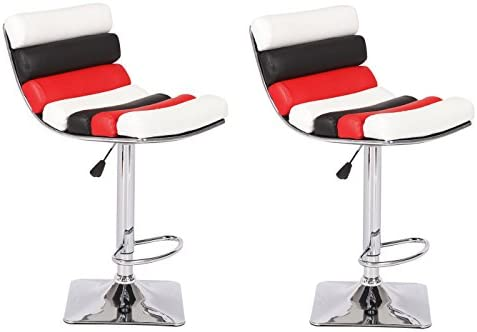 US Pride Furniture Sophia Collection Modern Faux Leather Upholstered Adjustable Swivel Stool, Set of 2 Black Red White