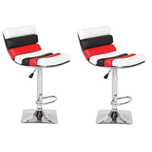 US Pride Furniture Sophia Collection Modern Faux Leather Upholstered Adjustable Swivel Stool, Set of 2 Black/Red/White