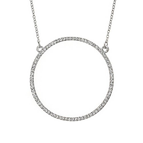 YOYOMA Open Circle Necklace Women,Silver Gold Pendant Necklace CZ Crystal Y Dainty Mom Choker Necklace (Silver Plated) -