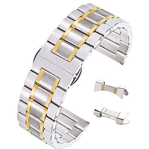 18mm Superb Solid INOX Steel Watch Belt Bracelet Butterfly Clasp Dual Tone Silver&Gold Adjustable Length