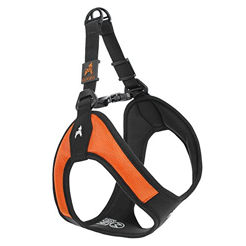 Gooby - Escape Free Easy Fit Harness, Small Dog Step-In Harness for Dogs that Like to Escape Their Harness, Orange, Large