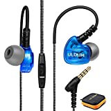 Running Headphones Wired with Microphone, Over Ear Earbuds Noise Isolating Sweatproof Sports Earbuds Earphones with Remote and Earhook Stereo Workout Headset for Jogging Gym for iPhone Android Blue