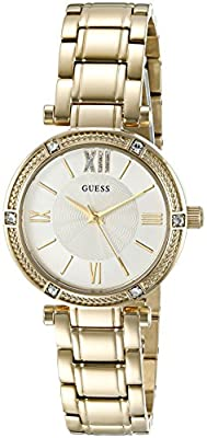GUESS Women's U0767L2 Dressy Gold-Tone Watch with White Dial , Crystal-Accented Bezel and Stainless Steel Pilot Buckle