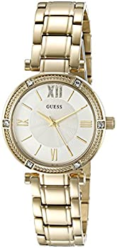 Guess Women's U0767l2 Dressy Gold-tone Watch With White Dial , Crystal-accented Bezel & Stainless Steel Pilot Buckle 0