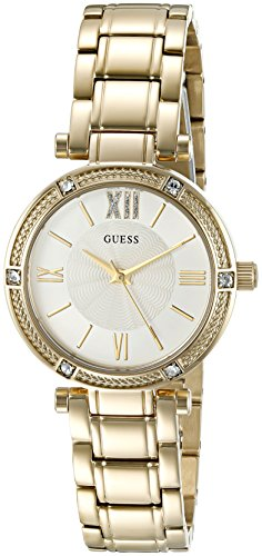 GUESS Women's U0767L2 Dressy Gold-Tone Watch with White Dial , Crystal-Accented Bezel and Stainless Steel Pilot - Dial Guess Ladies White