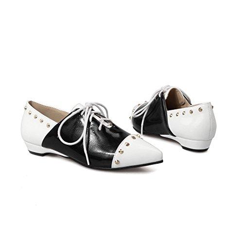 VogueZone009 Damen Weiches Material Schnüren Spitz Zehe Eingelegt Pumps Schuhe Weiß