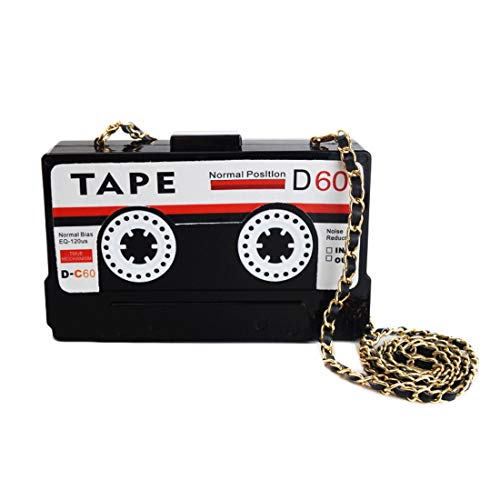 Kuang Women's Novelty Tape Shaped Shoulder Bag Vintage Clutch Evening Bag, Black -