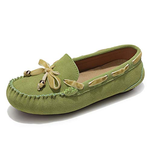 Lucky Exclusive Rosalie Women's Casual Faux Suede Driving Moccasins Slip on Penny Loafers Boat Shoes Flats Grass Green ()