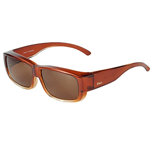 Duco Unisex Wear Over Prescription Glasses Rx Glasses Polarized Sunglasses 8956 (Brown Frame Brown Lens)