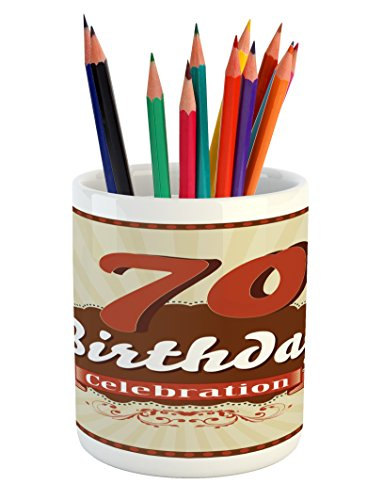 Ambesonne 70th Birthday Pencil Pen Holder, Vintage Candy Sto