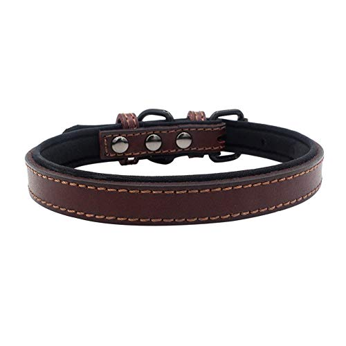 (HEART SPEAKER Pet Dog Faux Leather Adjustable Collar Necklace Diving Cloth Lined Neckband - Brown L)
