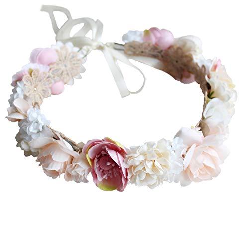 Vivivalue Boho Flower Headband Women Floral Crown Hair Wreath Flower Headpiece Halo with Ribbon Wedding Party Festival Photos Pink