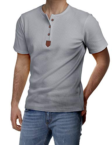 - H2H Men's Short Sleeve Shirts Button Down Tee Slim Fit Contrast Placket Tops Gray US 3XL/Asia 4XL (JDSK31)