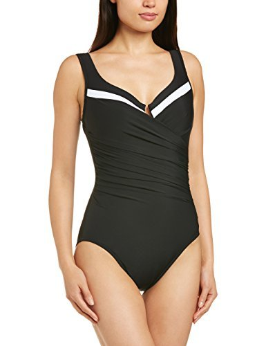 Miraclesuit Women's New Sensations One Piece Surplice Swimsuit Black/White 12