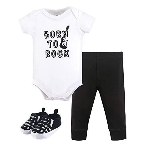 Little Treasure Unisex Baby Bodysuit, Pant and Shoes, Born to Rock, 3-Piece Set, 6-9 Months (9M)