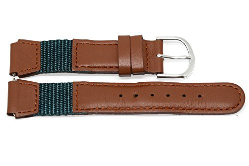 16MM BROWN TEAL NYLON LEATHER WATCH BAND STRAP FITS SWISS ARMY WENGER