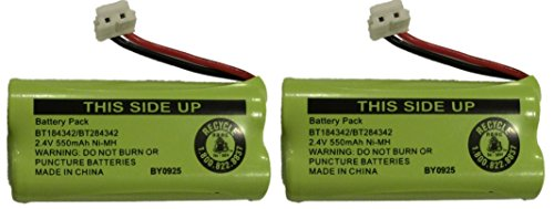 JustGreatDealz Battery BT184342 / BT284342 for AT&T Vtech GE RCA and Clarity Phones 2.4V 550mAh Ni-MH (2-Pack)