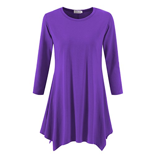 Sleeve Tunic Sleeve Long 3/4 (Topdress Women's Swing Tunic Tops 3/4 Sleeve Loose T-Shirt Dress Purple L)