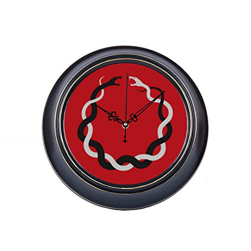 (14inch Large Silent Non Ticking Family Wall Clock Intertwined Snakes Facing Each Other Circle Metal Wall Clock For Women Quality Quartz Battery Quiet Wall Clock Decorative Bathroom For Home Office )