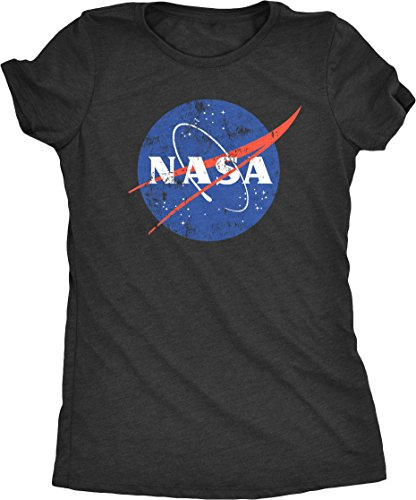 NASA Space Program Distressed Meatball Logo Women's Tri-Blend T-Shirt (Black Frost, Medium)