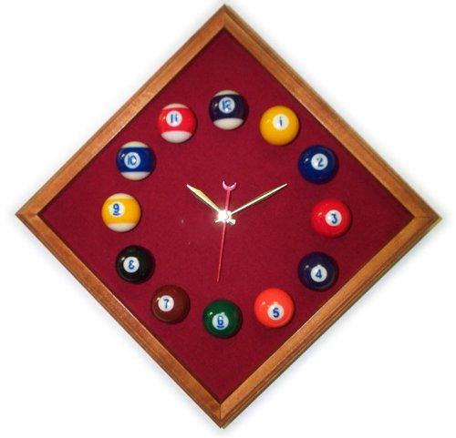 Pool Table Room Diamond Billiard Clock Mahogany & Burgandy Mali Felt ()