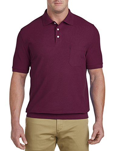 (Harbor Bay by DXL Big and Tall Pique Banded-Bottom Shirt, Beet Red XL )