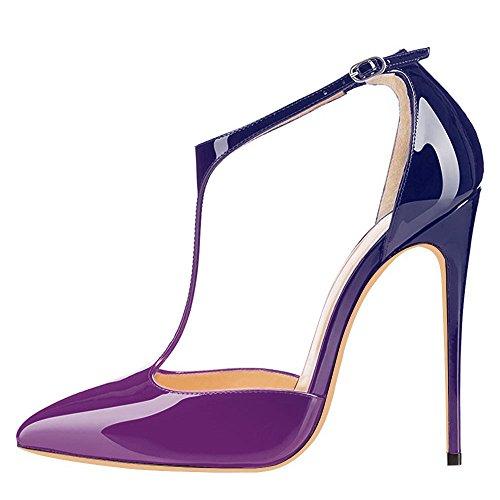 uBeauty High Heels Damenschuhe Lackleder T-Spangen Übergröße Pumps für Hochzeit Party Violett-Blau